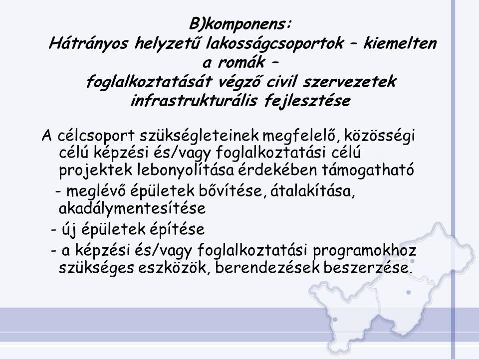 B)komponens: Hátrányos helyzetű lakosságcsoportok – kiemelten a romák – foglalkoztatását végző civil szervezetek infrastrukturális fejlesztése A célcsoport szükségleteinek megfelelő, közösségi célú képzési és/vagy foglalkoztatási célú projektek lebonyolítása érdekében támogatható - meglévő épületek bővítése, átalakítása, akadálymentesítése - új épületek építése - a képzési és/vagy foglalkoztatási programokhoz szükséges eszközök, berendezések beszerzése.