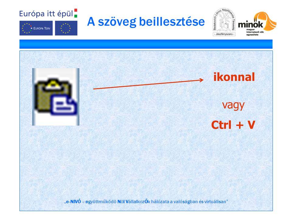 """""""e-NIVÓ – együttműködõ NõI VállalkozÓk hálózata a valóságban és virtuálisan"""" A szöveg beillesztése ikonnal vagy Ctrl + V"""