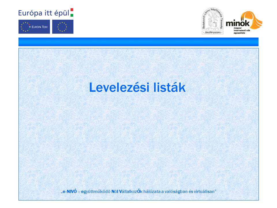 """""""e-NIVÓ – együttműködõ NõI VállalkozÓk hálózata a valóságban és virtuálisan"""" Levelezési listák"""