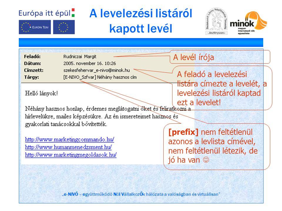 """""""e-NIVÓ – együttműködõ NõI VállalkozÓk hálózata a valóságban és virtuálisan"""" A levelezési listáról kapott levél A levél írója A feladó a levelezési li"""