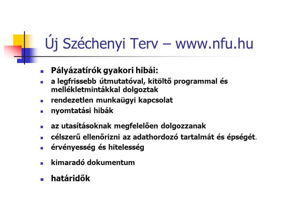 Új Széchenyi Terv – www.nfu.hu Pályázatírók gyakori hibái: a legfrissebb útmutatóval, kitöltő programmal és mellékletmintákkal dolgoztak rendezetlen m