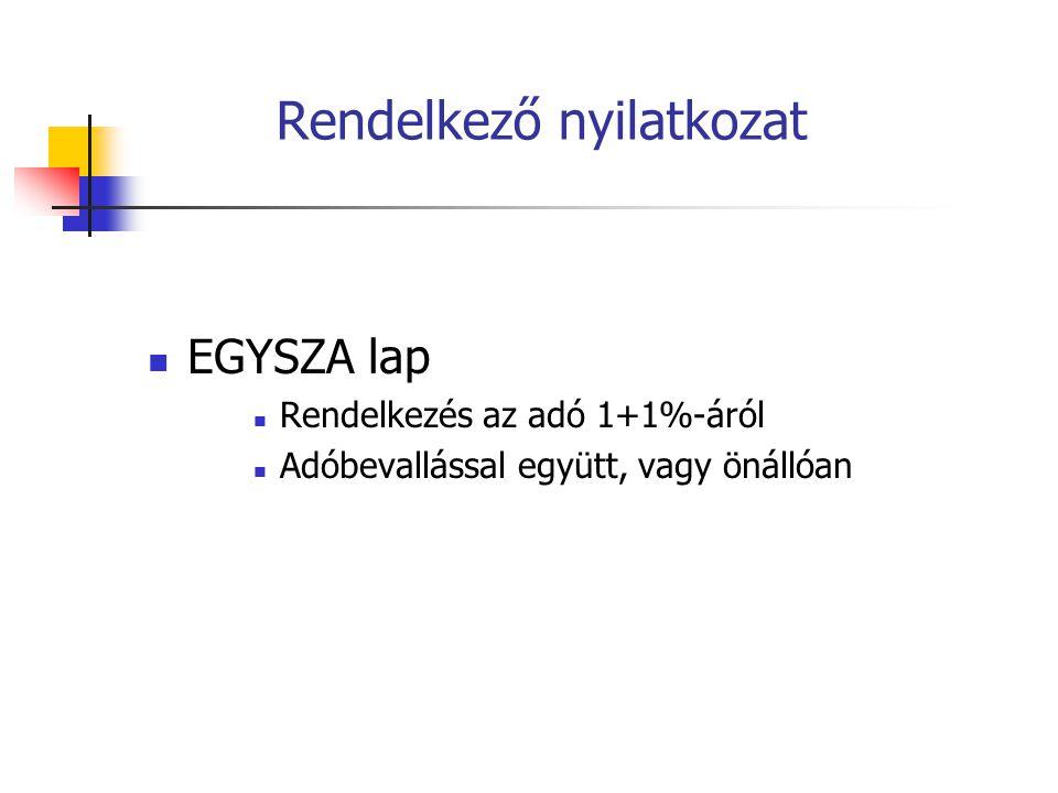 Rendelkező nyilatkozat EGYSZA lap Rendelkezés az adó 1+1%-áról Adóbevallással együtt, vagy önállóan
