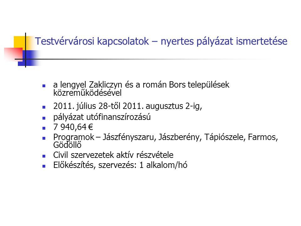 Testvérvárosi kapcsolatok – nyertes pályázat ismertetése a lengyel Zakliczyn és a román Bors települések közreműködésével 2011. július 28-től 2011. au