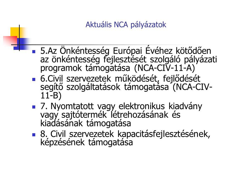 Aktuális NCA pályázatok 5.Az Önkéntesség Európai Évéhez kötődően az önkéntesség fejlesztését szolgáló pályázati programok támogatása (NCA-CIV-11-A) 6.