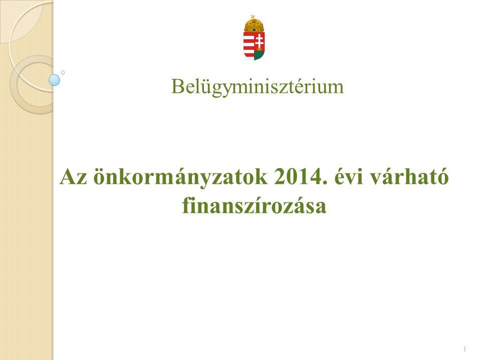 Belügyminisztérium Az önkormányzatok 2014. évi várható finanszírozása 1