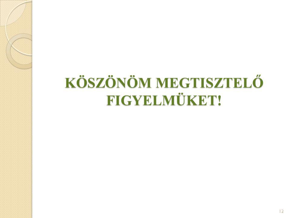 KÖSZÖNÖM MEGTISZTELŐ FIGYELMÜKET! 12