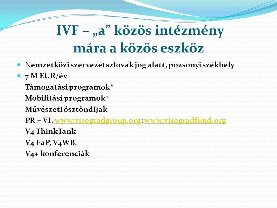 """IVF – """"a közös intézmény mára a közös eszköz Nemzetközi szervezet szlovák jog alatt, pozsonyi székhely 7 M EUR/év Támogatási programok* Mobilitási programok* Művészeti ösztöndíjak PR – VI, www.visegradgroup.org; www.visegradfund.orgwww.visegradgroup.orgwww.visegradfund.org V4 ThinkTank V4 EaP, V4WB, V4+ konferenciák"""
