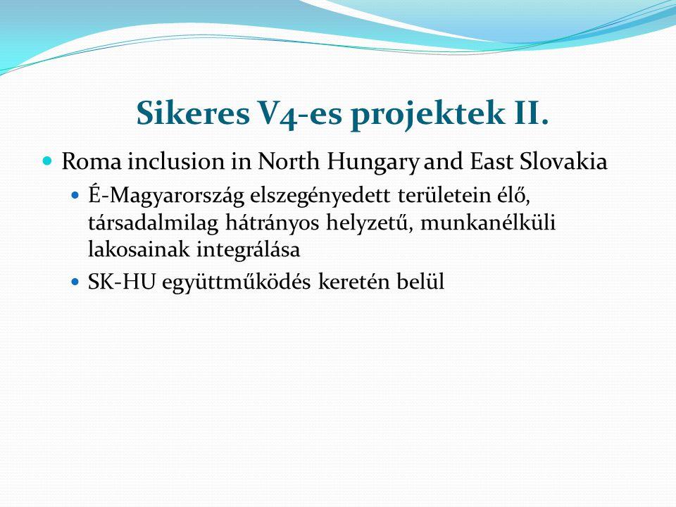 Sikeres V4-es projektek II. Roma inclusion in North Hungary and East Slovakia É-Magyarország elszegényedett területein élő, társadalmilag hátrányos he