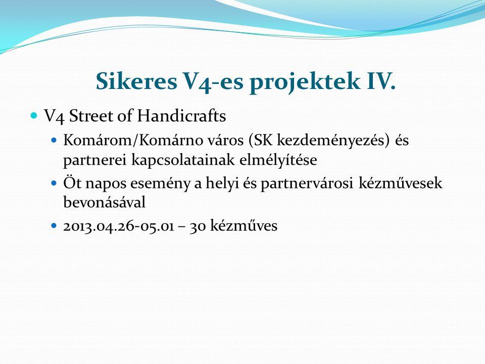 Sikeres V4-es projektek IV. V4 Street of Handicrafts Komárom/Komárno város (SK kezdeményezés) és partnerei kapcsolatainak elmélyítése Öt napos esemény