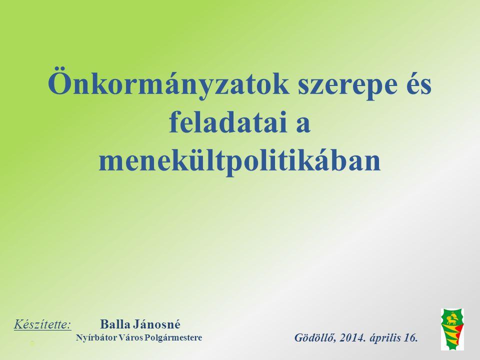 Önkormányzatok szerepe és feladatai a menekültpolitikában Gödöllő, 2014.