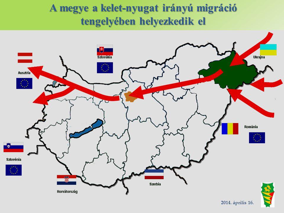 A megye a kelet-nyugat irányú migráció tengelyében helyezkedik el 2014. április 16.