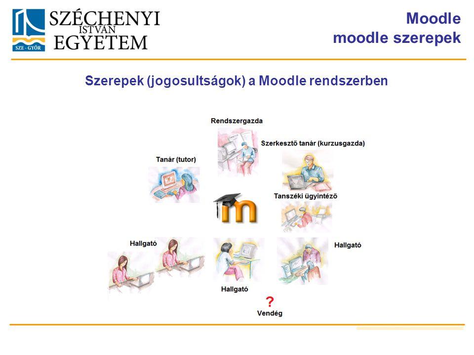 Moodle moodle szerepek Szerepek (jogosultságok) a Moodle rendszerben