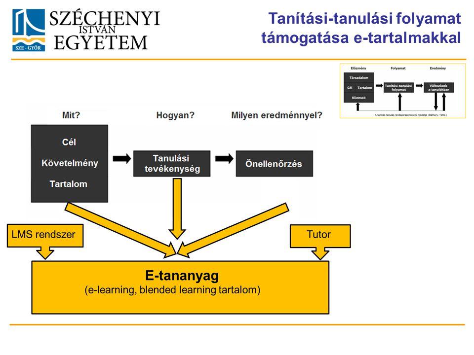 Tanítási-tanulási folyamat támogatása e-tartalmakkal