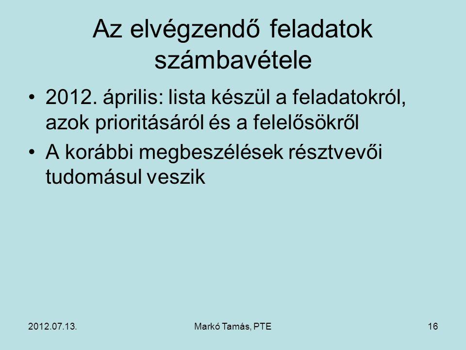2012.07.13.Markó Tamás, PTE16 Az elvégzendő feladatok számbavétele 2012.