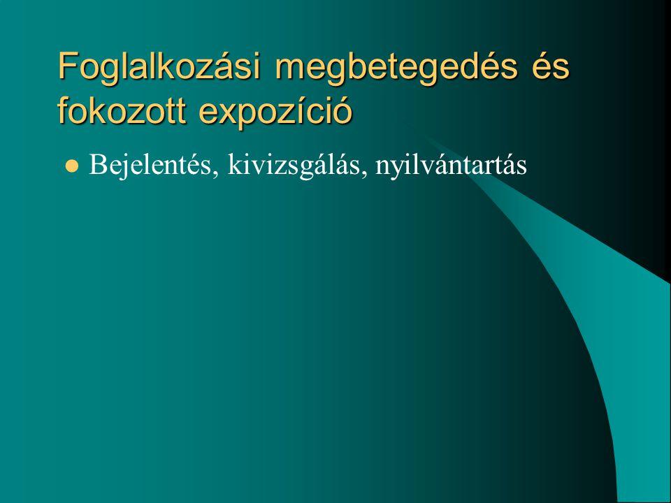 Foglalkozási megbetegedés és fokozott expozíció Bejelentés, kivizsgálás, nyilvántartás