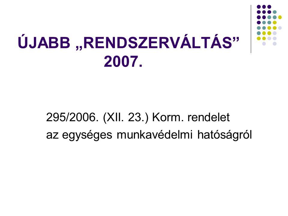 """ÚJABB """"RENDSZERVÁLTÁS"""" 2007. 295/2006. (XII. 23.) Korm. rendelet az egységes munkavédelmi hatóságról"""