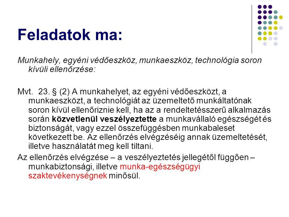 Feladatok ma: Munkahely, egyéni védőeszköz, munkaeszköz, technológia soron kívüli ellenőrzése: Mvt. 23. § (2) A munkahelyet, az egyéni védőeszközt, a