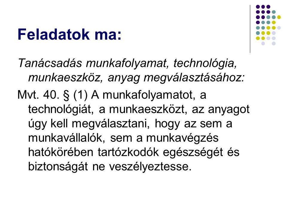 Feladatok ma: Tanácsadás munkafolyamat, technológia, munkaeszköz, anyag megválasztásához: Mvt. 40. § (1) A munkafolyamatot, a technológiát, a munkaesz