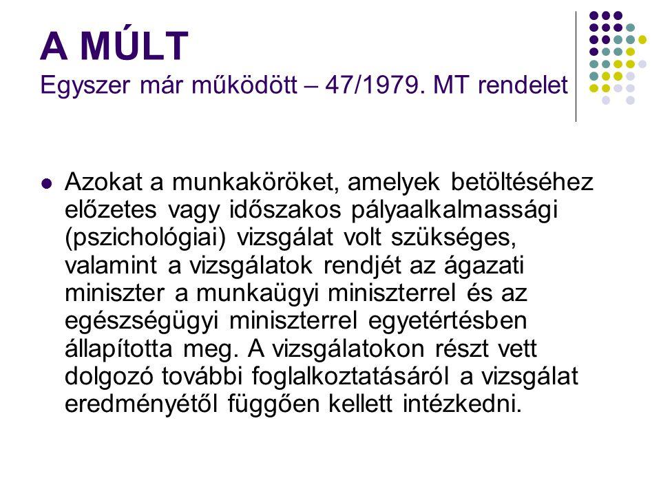 A MÚLT Egyszer már működött – 47/1979. MT rendelet Azokat a munkaköröket, amelyek betöltéséhez előzetes vagy időszakos pályaalkalmassági (pszichológia