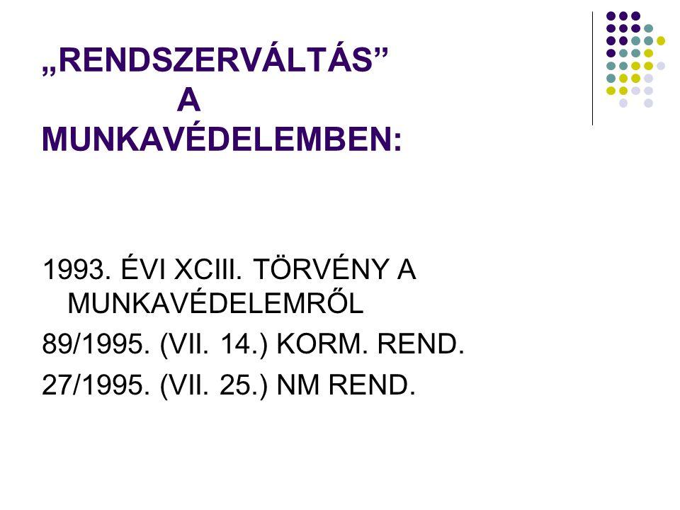 """""""RENDSZERVÁLTÁS"""" A MUNKAVÉDELEMBEN: 1993. ÉVI XCIII. TÖRVÉNY A MUNKAVÉDELEMRŐL 89/1995. (VII. 14.) KORM. REND. 27/1995. (VII. 25.) NM REND."""