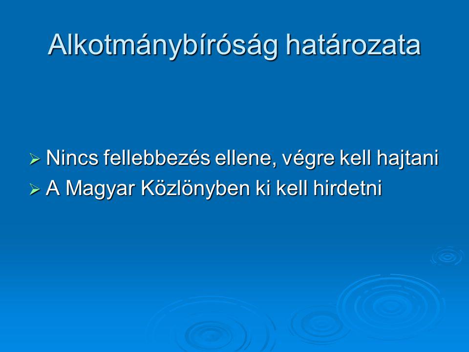 Alkotmánybíróság határozata  Nincs fellebbezés ellene, végre kell hajtani  A Magyar Közlönyben ki kell hirdetni