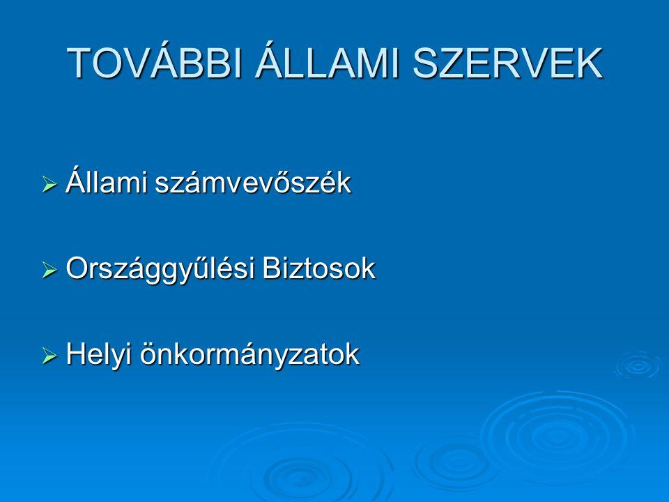 TOVÁBBI ÁLLAMI SZERVEK  Állami számvevőszék  Országgyűlési Biztosok  Helyi önkormányzatok
