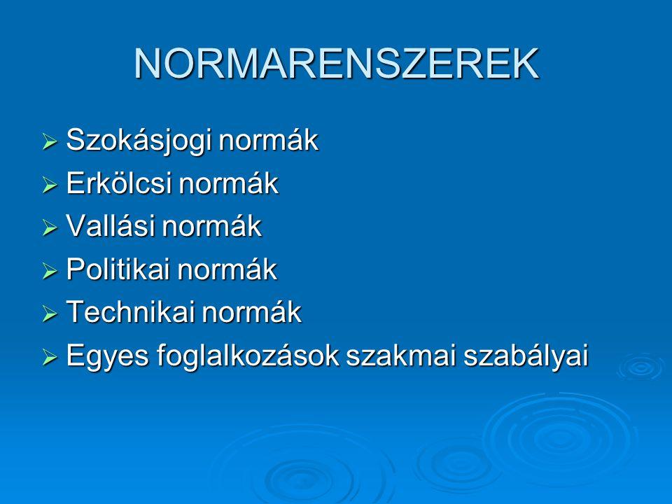 NORMARENSZEREK  Szokásjogi normák  Erkölcsi normák  Vallási normák  Politikai normák  Technikai normák  Egyes foglalkozások szakmai szabályai