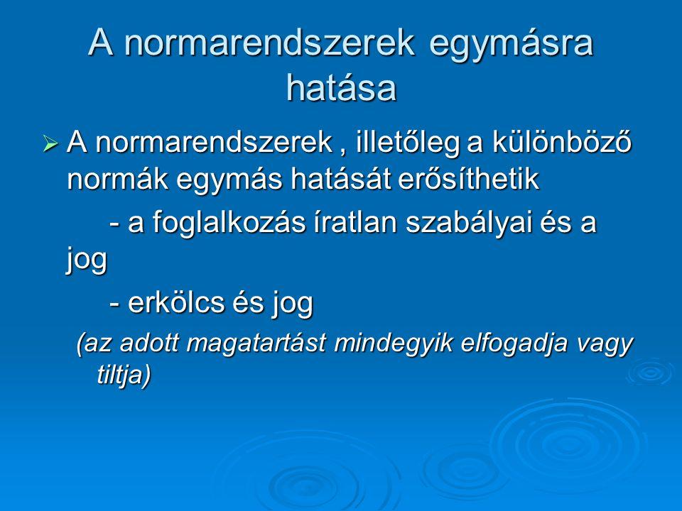 A normarendszerek egymásra hatása  A normarendszerek, illetőleg a különböző normák egymás hatását erősíthetik - a foglalkozás íratlan szabályai és a