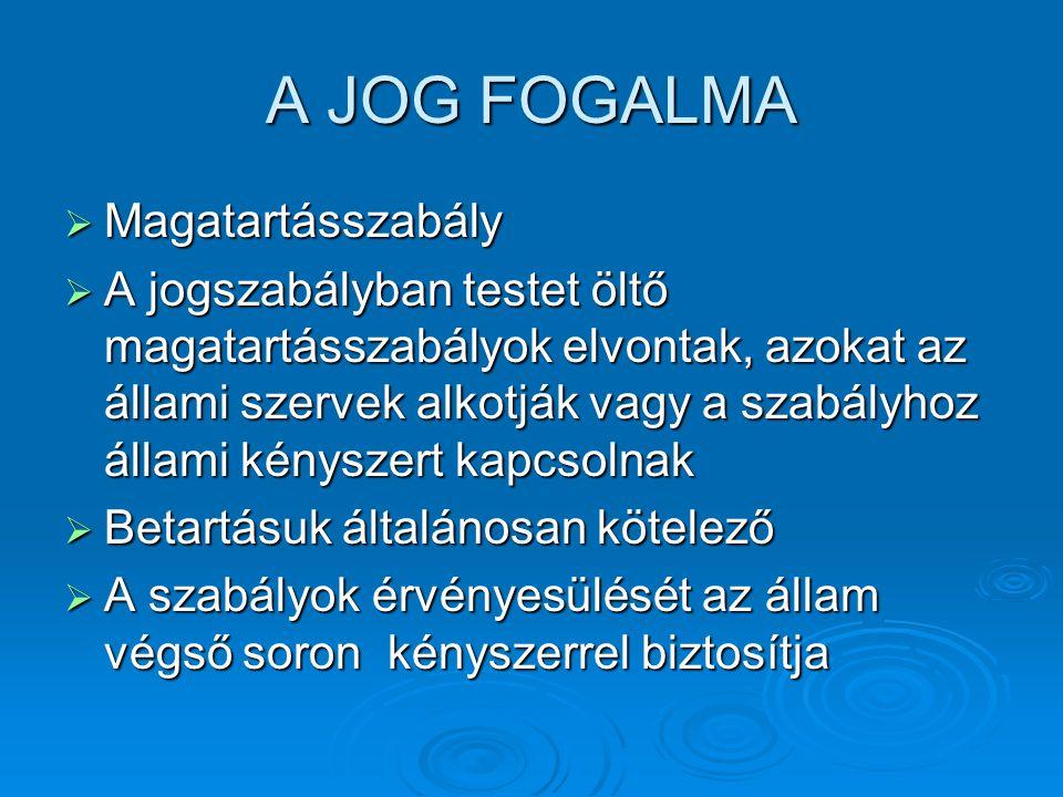 A JOG FOGALMA  Magatartásszabály  A jogszabályban testet öltő magatartásszabályok elvontak, azokat az állami szervek alkotják vagy a szabályhoz álla