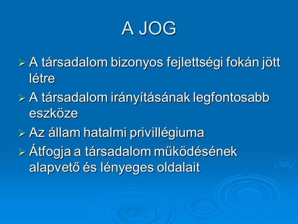 A jogrendszer és tagozódása  Jogrendszer: a tételes jog összessége  Jogág: azonos jogi tárgyra vonatkozó normák összességeazonos jogi tárgyra vonatkozó normák összessége Sajátos felelősségi formát hordozó jogszabályok csoportjaSajátos felelősségi formát hordozó jogszabályok csoportja Jogág pl.: közjog, polgári jog, büntetőjog, munkajog stb.Jogág pl.: közjog, polgári jog, büntetőjog, munkajog stb.