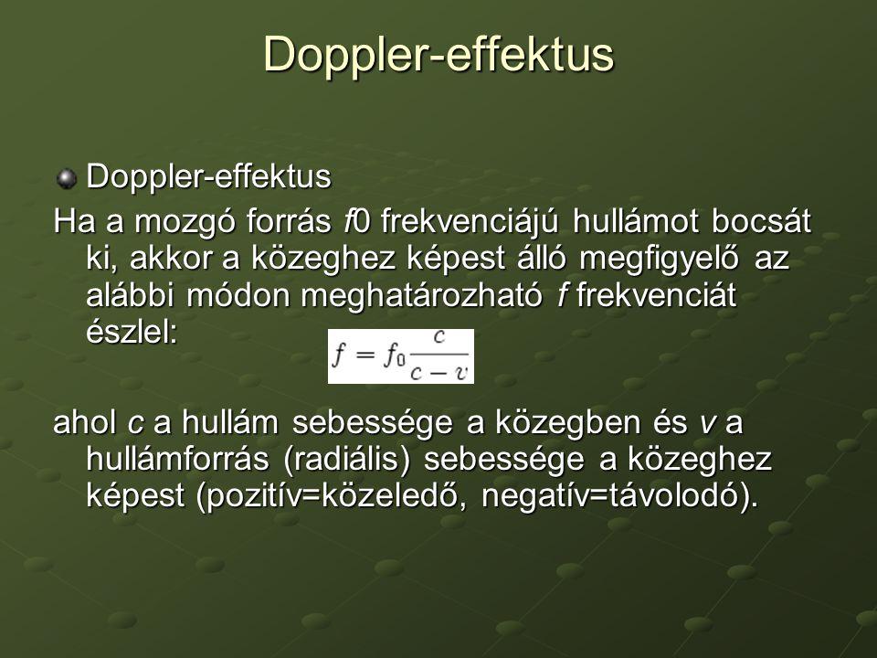 Doppler-effektus Doppler-effektus Ha a mozgó forrás f0 frekvenciájú hullámot bocsát ki, akkor a közeghez képest álló megfigyelő az alábbi módon meghat