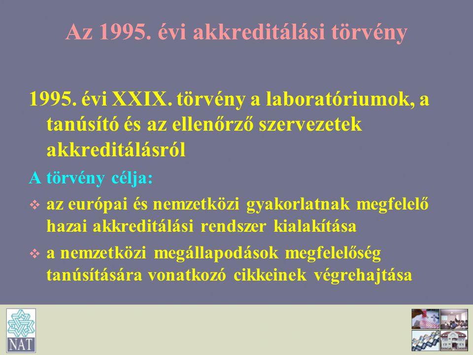 Az 1995. évi akkreditálási törvény 1995. évi XXIX. törvény a laboratóriumok, a tanúsító és az ellenőrző szervezetek akkreditálásról A törvény célja: 