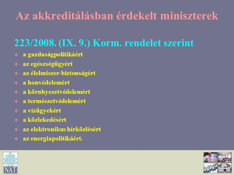Az akkreditálásban érdekelt miniszterek 223/2008. (IX. 9.) Korm. rendelet szerint   a gazdaságpolitikáért   az egészségügyért   az élelmiszer-bi