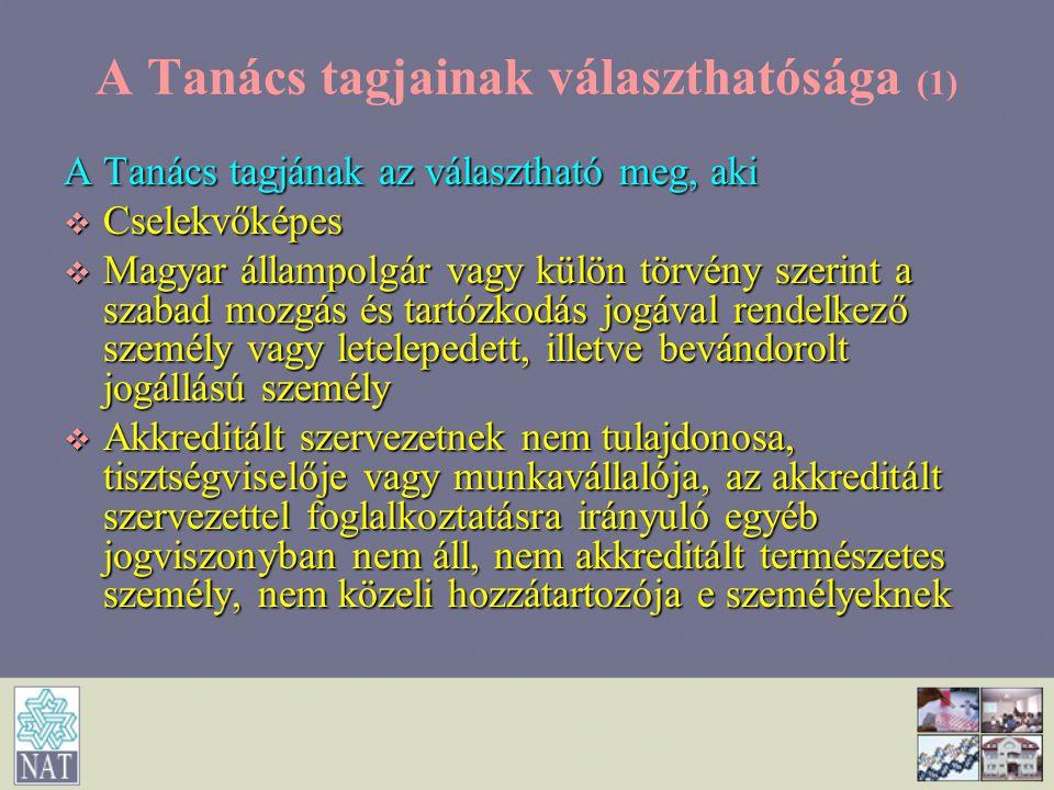 A Tanács tagjainak választhatósága (1) A Tanács tagjának az választható meg, aki  Cselekvőképes  Magyar állampolgár vagy külön törvény szerint a sza