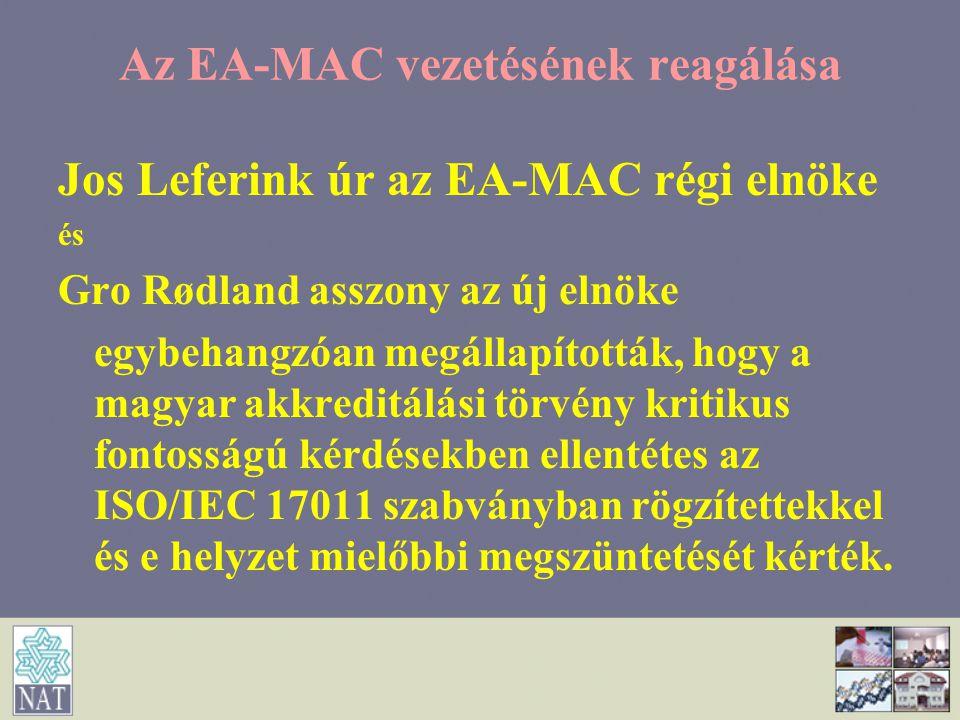 Az EA-MAC vezetésének reagálása Jos Leferink úr az EA-MAC régi elnöke és Gro Rødland asszony az új elnöke egybehangzóan megállapították, hogy a magyar