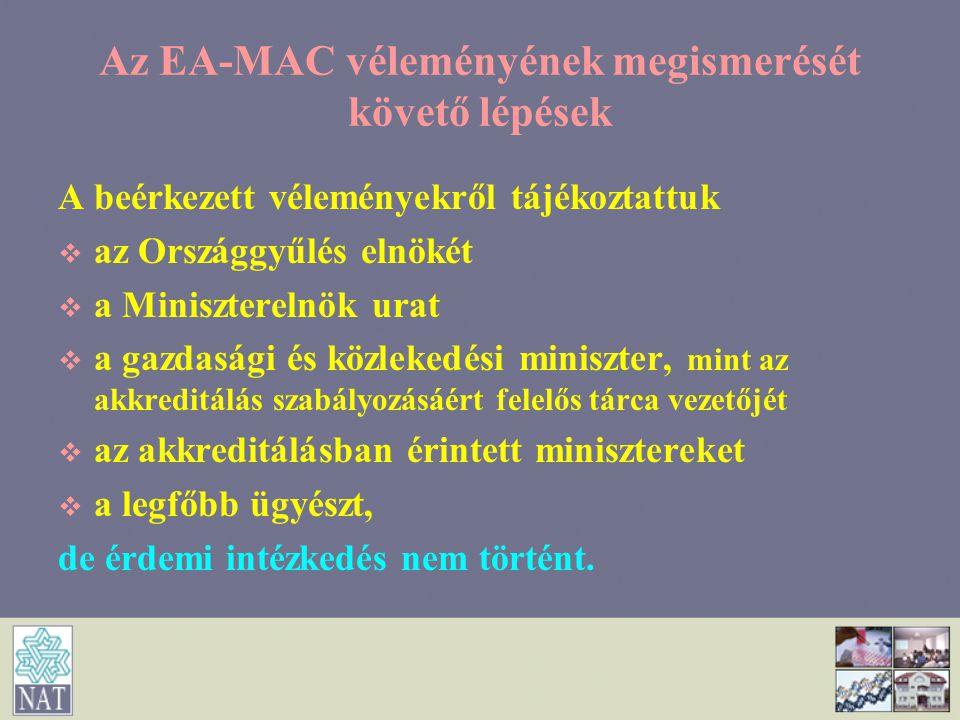 Az EA-MAC véleményének megismerését követő lépések A beérkezett véleményekről tájékoztattuk   az Országgyűlés elnökét   a Miniszterelnök urat  