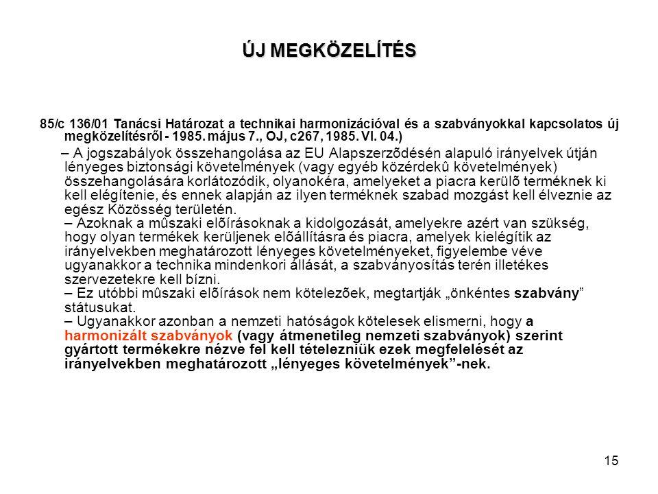 15 ÚJ MEGKÖZELÍTÉS 85/c 136/01 Tanácsi Határozat a technikai harmonizációval és a szabványokkal kapcsolatos új megközelítésről - 1985. május 7., OJ, c
