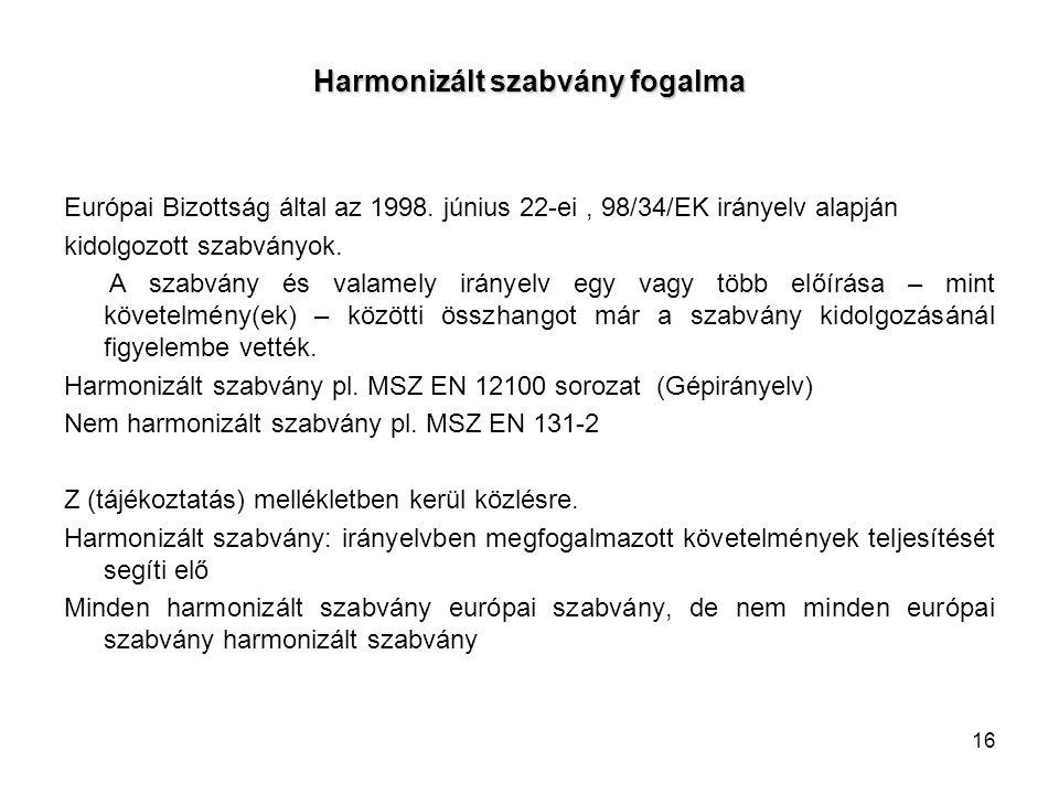 16 Harmonizált szabvány fogalma Európai Bizottság által az 1998. június 22-ei, 98/34/EK irányelv alapján kidolgozott szabványok. A szabvány és valamel