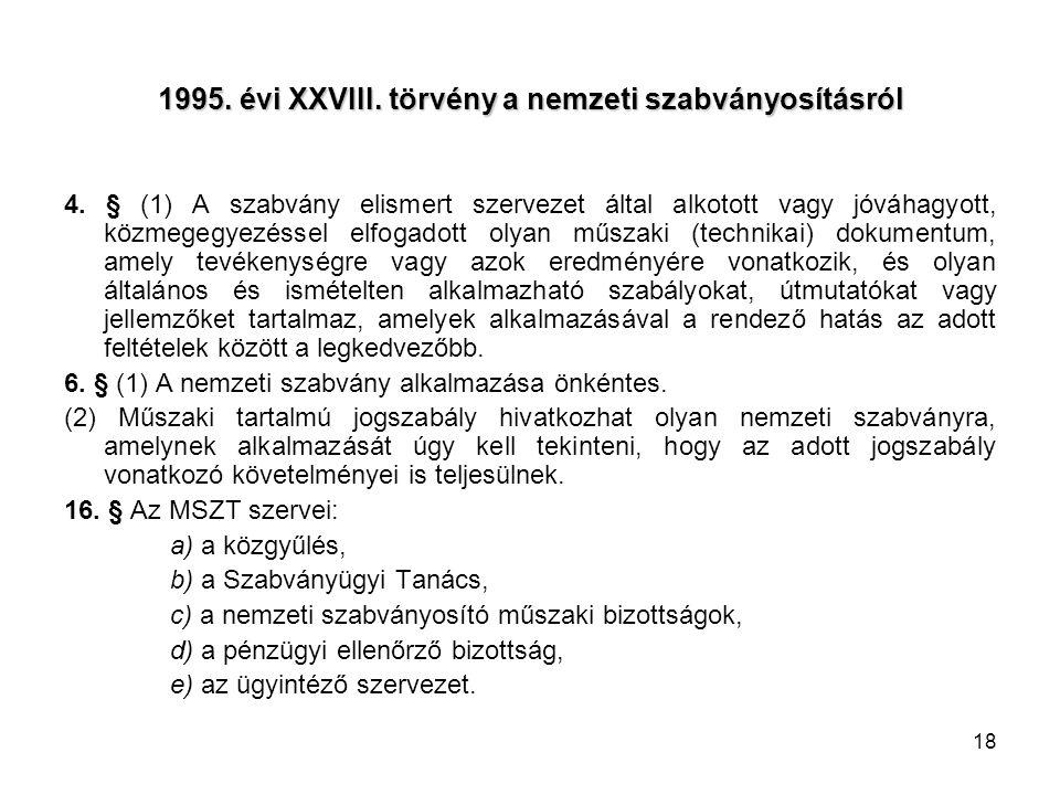 18 1995. évi XXVIII. törvény a nemzeti szabványosításról 4. § (1) A szabvány elismert szervezet által alkotott vagy jóváhagyott, közmegegyezéssel elfo