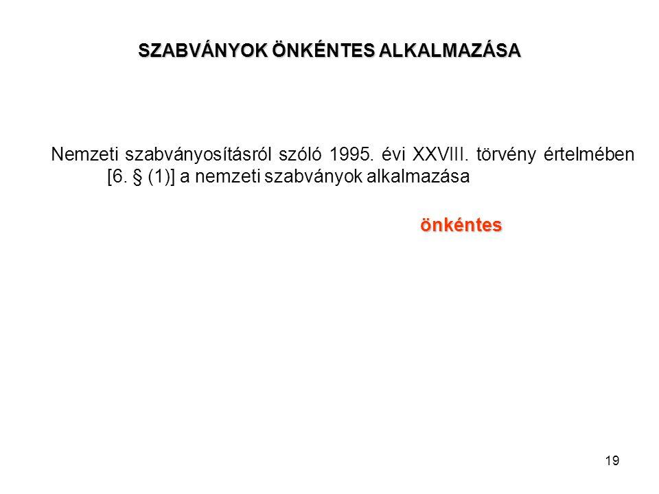19 SZABVÁNYOK ÖNKÉNTES ALKALMAZÁSA Nemzeti szabványosításról szóló 1995. évi XXVIII. törvény értelmében [6. § (1)] a nemzeti szabványok alkalmazása ön