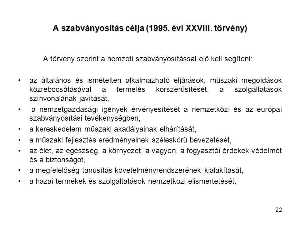 22 A szabványosítás célja (1995. évi XXVIII. törvény) A törvény szerint a nemzeti szabványosítással elő kell segíteni: az általános és ismételten alka