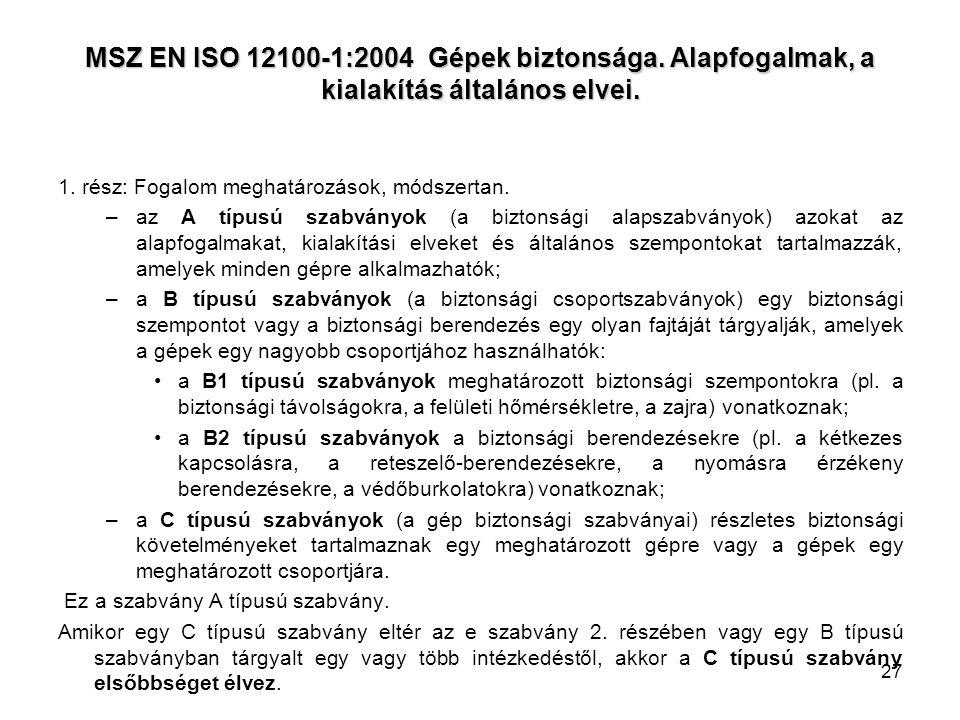 27 MSZ EN ISO 12100-1:2004 Gépek biztonsága. Alapfogalmak, a kialakítás általános elvei. 1. rész: Fogalom meghatározások, módszertan. –az A típusú sza
