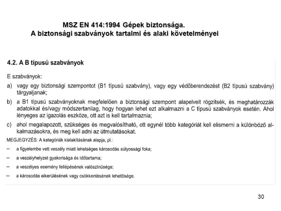 30 MSZ EN 414:1994 Gépek biztonsága. A biztonsági szabványok tartalmi és alaki követelményei