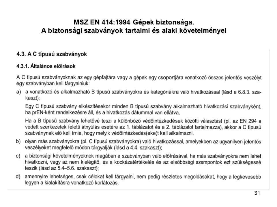 31 MSZ EN 414:1994 Gépek biztonsága. A biztonsági szabványok tartalmi és alaki követelményei