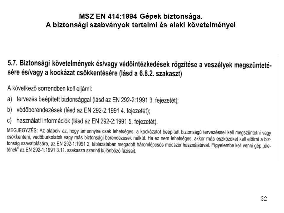 32 MSZ EN 414:1994 Gépek biztonsága. A biztonsági szabványok tartalmi és alaki követelményei