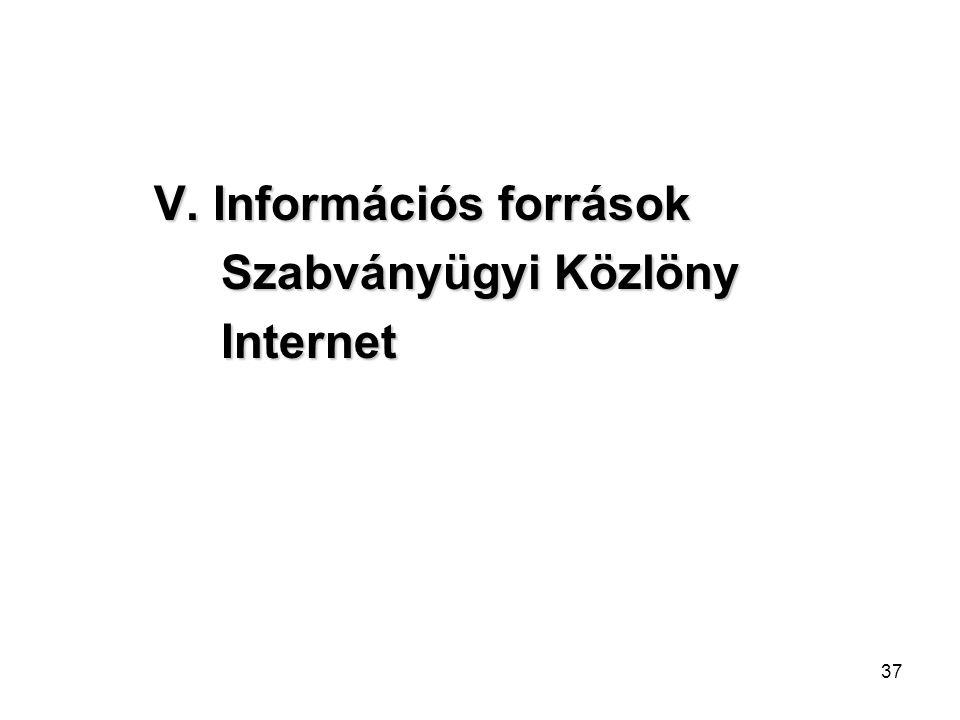 37 V. Információs források Szabványügyi Közlöny Szabványügyi Közlöny Internet Internet