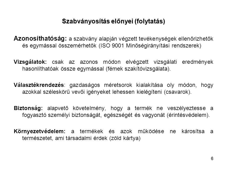 17 II. Magyar előírások a szabványokról