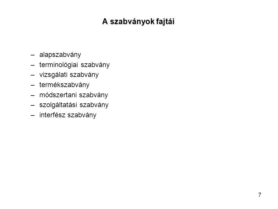 7 A szabványok fajtái A szabványok fajtái –alapszabvány –terminológiai szabvány –vizsgálati szabvány –termékszabvány –módszertani szabvány –szolgáltat