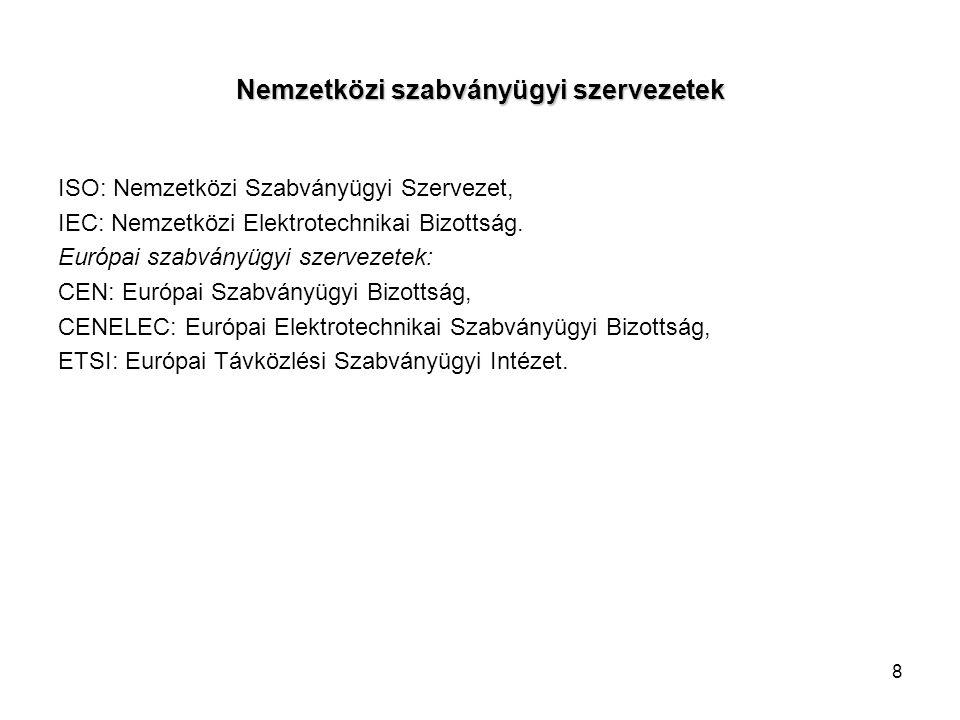 8 Nemzetközi szabványügyi szervezetek ISO: Nemzetközi Szabványügyi Szervezet, IEC: Nemzetközi Elektrotechnikai Bizottság. Európai szabványügyi szervez