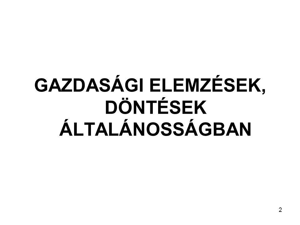 GAZDASÁGI ELEMZÉSEK, DÖNTÉSEK ÁLTALÁNOSSÁGBAN 2